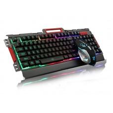 K33 Wired LED Rainbow Backlight Aluminum Alloy Panel Gaming keyboard with LED 3200DPI Gaming Mouse Combo