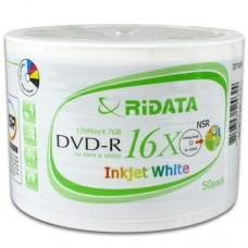 Ritek 4.7GB RiDATA 16X DVD-R, Inkjet White Hub Printable/50 Pack